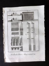 Diderot 1780's Antique Print. Architecture, Maconnerie 03 Masonry